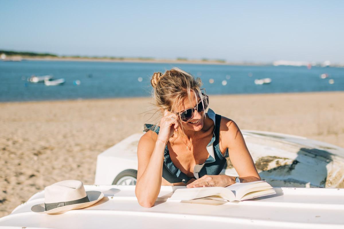 Bikini Marta, estampado lycra brillo azul